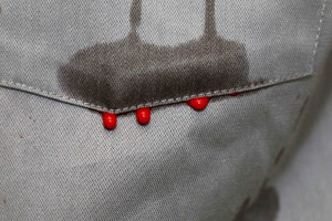blood dripping from pocket