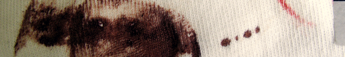Finger mark in blood on cotton fabric